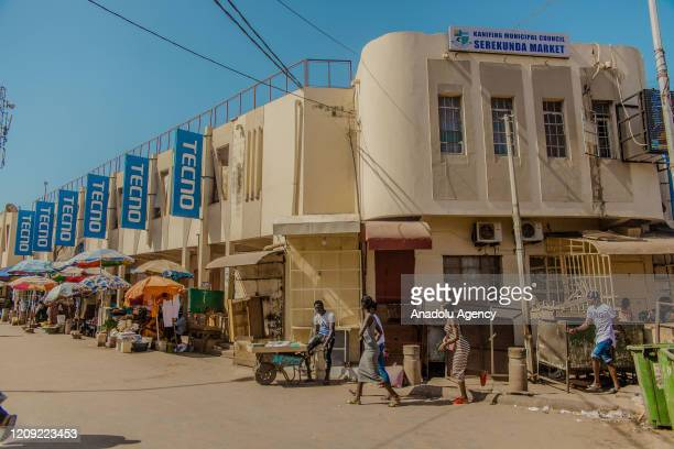 Market area is partly crowded as many streets remain empty due to the coronavirus pandemic in Banjul, Gambia on April 04, 2020.