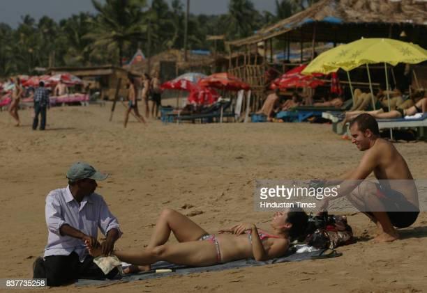 Market at Anjuna beach in Goa