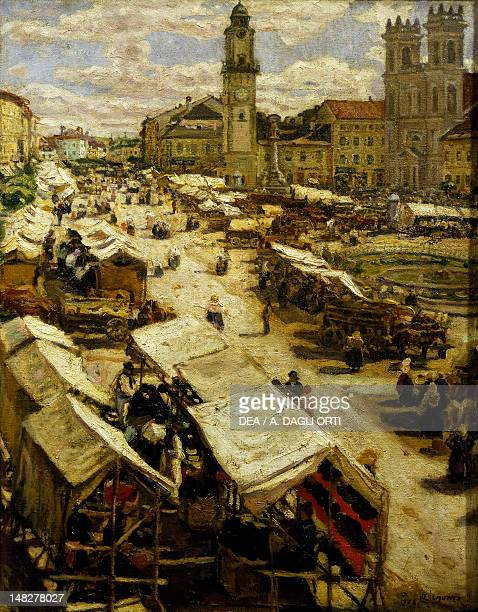 Market at Besztercebanya by Izsak Perlmutter Budapest Magyar Nemzeti Galeria