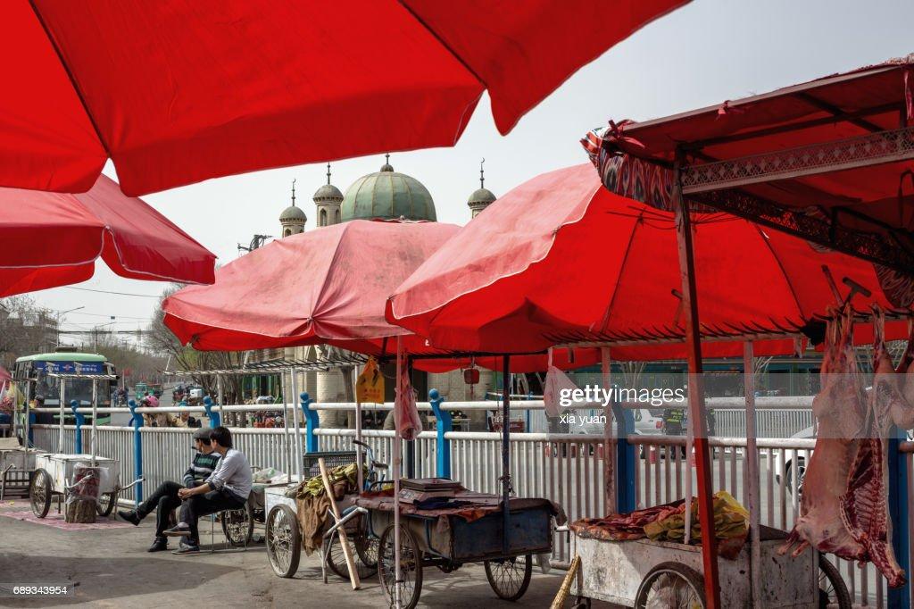 Market Bazaar by street in Kuqa,China : Stock Photo