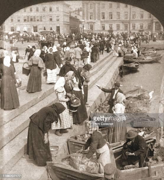 "Market Boats, Helsingfors, Finland', 1898. From ""Underwood and Underwood Publishers, New York-London-Toroto Canada-Ottawa Kansas. "". Artist Works and..."