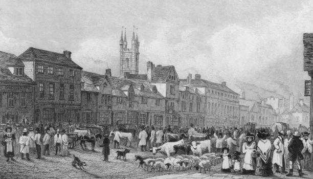 Market day in Ashford, Kent, 1830. An engraving by...