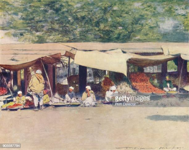 'Market Day in Peshawur' 1905 From India by Mortimer Menpes Text by Flora A Steel [Adam Charles Black London 1905] Artist Mortimer Luddington Menpes