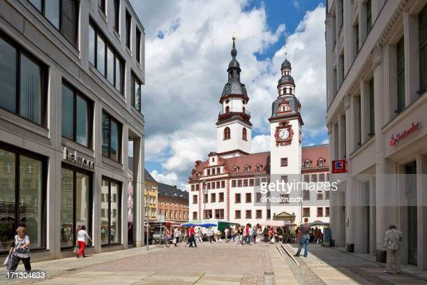 market day with old town hall in chemnitz - chemnitz stock pictures, royalty-free photos & images