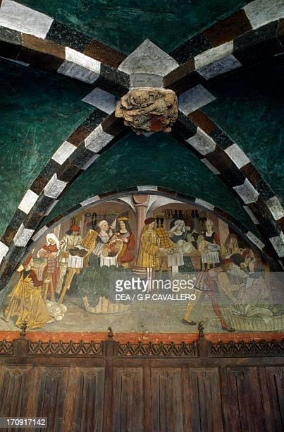 Market frescoed lunette portico Issogne Castle Valle d'Aosta Italy