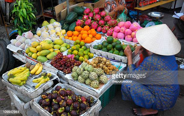 Market fruit stall in Vietnam