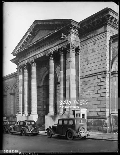 Market Hall, North Street, Wolverhampton, Spring 1942. The west portico of the Market Hall in North Street. The Market Hall opened in 1853. By 1868...