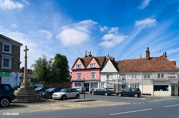 market hill in clare, suffolk - suffolk england stock photos and pictures
