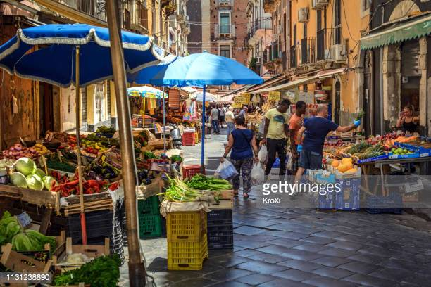 market in catania, sicily - catania stock photos and pictures
