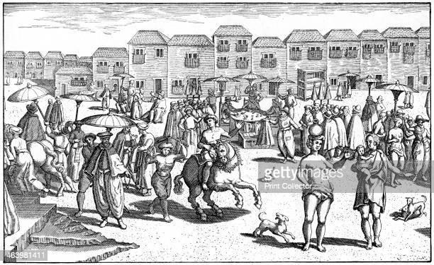 Market in Goa India 1599 A print from Jan Huyghen van Linschoten's Navigatio in Orientem Frankfurt 1599