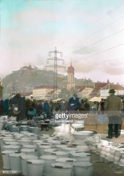 Market in Graz In the background the Schlossberg mountain Styria Handcolored lantern slide Around 1910
