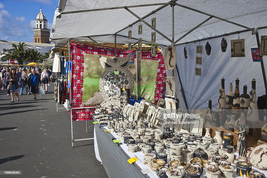 Market in Teguise in Lanzarote. : Stock Photo