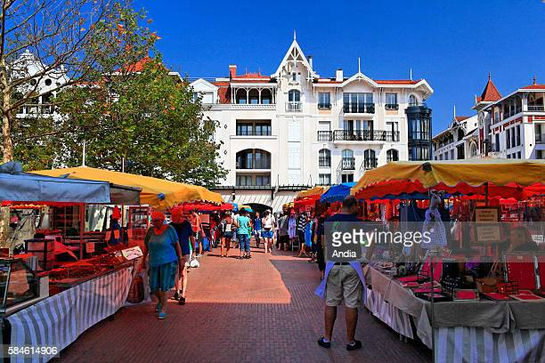 Market in the city centre of Arcachon in the marketplace on