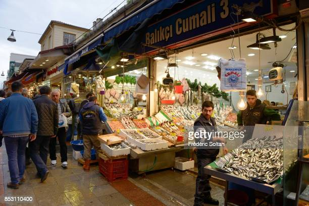 Market in the Street with pedestrians on the Asian Shore Istanbul's district Kadikoy on October 14 2014 in Istanbul Turkey