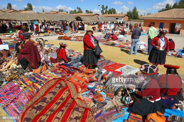 Market in the village of Chinchero the Cuzco area in the Andes at 3800 m This village is famous for its weaving on July 20 Peru
