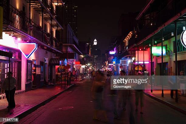 market lit up at night, new orleans, louisiana, usa - new orleans city stock pictures, royalty-free photos & images