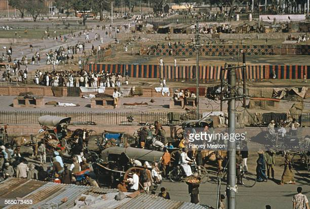 A market next to the Jama Masjid mosque in Delhi India circa 1972