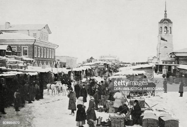 Market of Arkhangelsk Russia from the magazine L'Illustrazione Italiana year XLVI no 10 March 9 1919