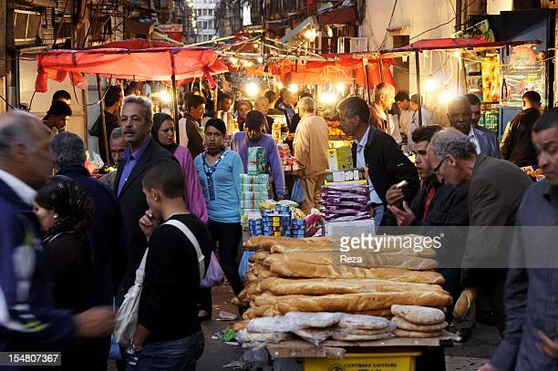 Market on Bastille Road on April 12 in Oran Algeria In the foreground baguettes and round bread for sale