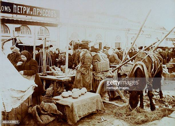 Market on the Moskvoretskaya Embankment Moscow Russia 1911 Found in the collection of the Russian State Film and Photo Archive Krasnogorsk