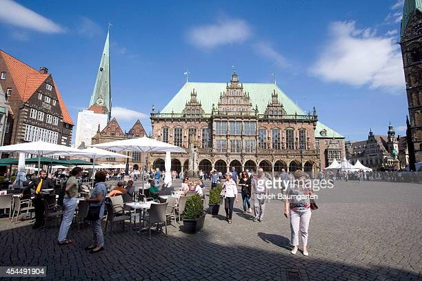 Market place and Town Hall of the Free Hanseatic City of Bremen on August 28 2014 in Bremen Germany
