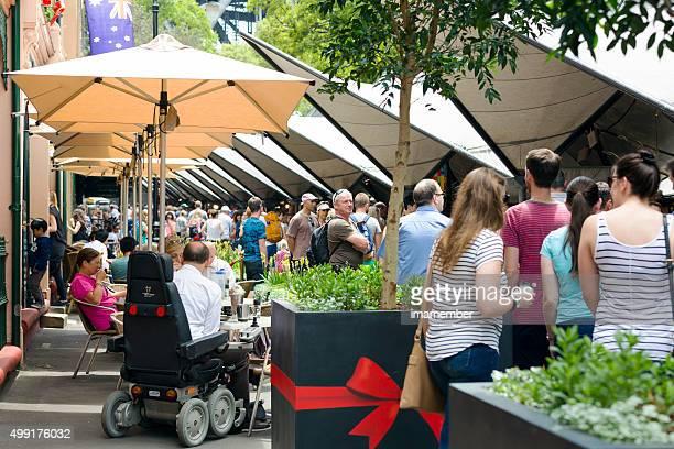 Market place, big crowd enjoing Rock market, Sydney Australia