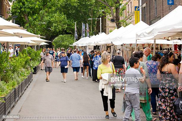 Market place, big crowd enjoying Rock market Sydney Australia