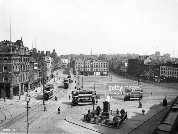 Market Place east aspect Nottingham Nottinghamshire 19121913 View showing trams the statue of Queen Victoria and in the distance the Exchange This...