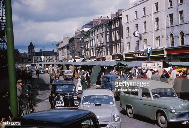 Market Place, York, 1958. Historic walled city founded by the Romans as Eboracum in 71 AD providin the backdrop to major political events in England...