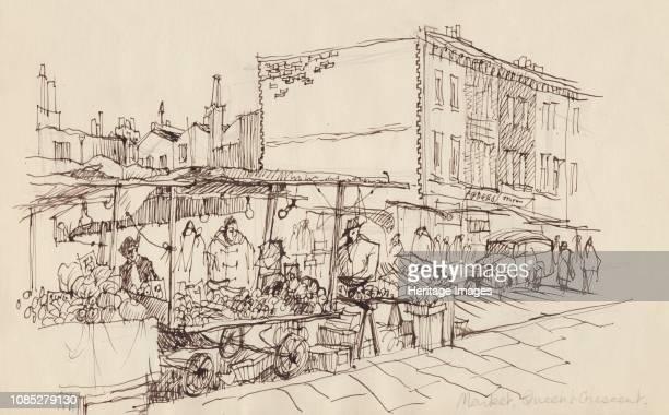 Market Queen's Crescent' circa 1950 Street scene in north London Artist Shirley Markham