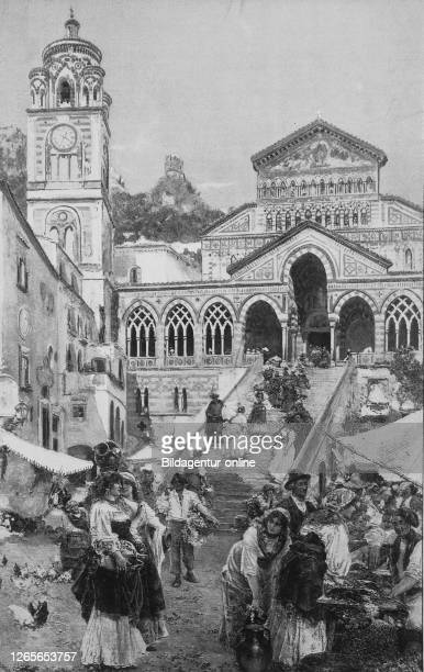 Market scene in Amalfi, Italy, in front of the cathedral, original print from the year 1899, Marktszene in Amalfi, Italien, vor der Kathedrale,...