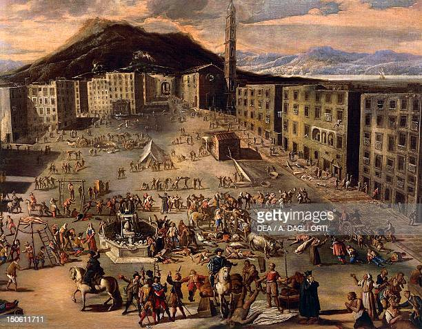 Market Square during the plague of 1656 Naples by Carlo Coppola oil on canvas 130x180 cm Detail Plague of 1656 Italy 17th century