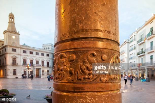market square from navas house column. reus. spain - reus spain ストックフォトと画像