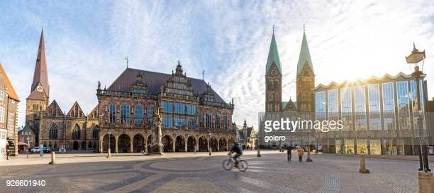 market square in bremen with cathedral and town hall - town hall stock pictures, royalty-free photos & images