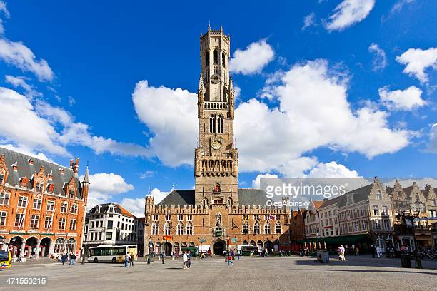 market square in bruges. - bruges stock pictures, royalty-free photos & images