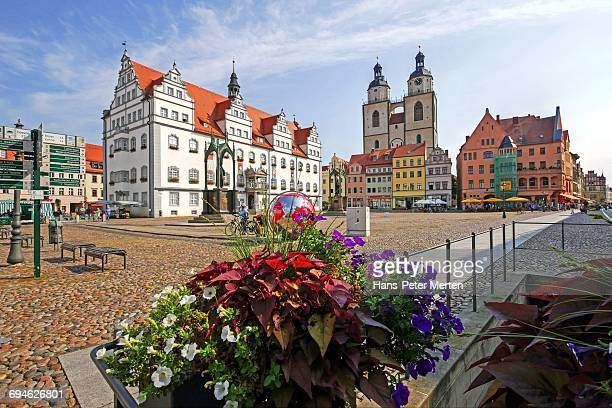 market square, lutherstadt wittenberg, germany - lutherstadt wittenberg stock pictures, royalty-free photos & images