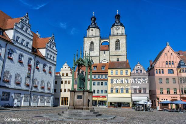 market square of lutherstadt wittenberg, germany - lutherstadt wittenberg stock pictures, royalty-free photos & images