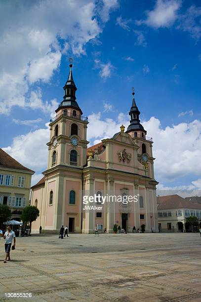 Market square with Trinity Church, Ludwigsburg, Baden-Wuerttemberg, Germany, Europe