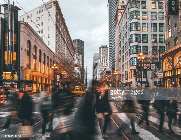 market st, san francisco - high street stock pictures, royalty-free photos & images