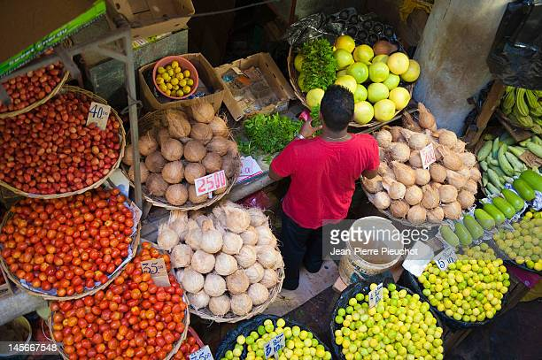 market stall at port louis market, mauritius - port louis stock photos and pictures