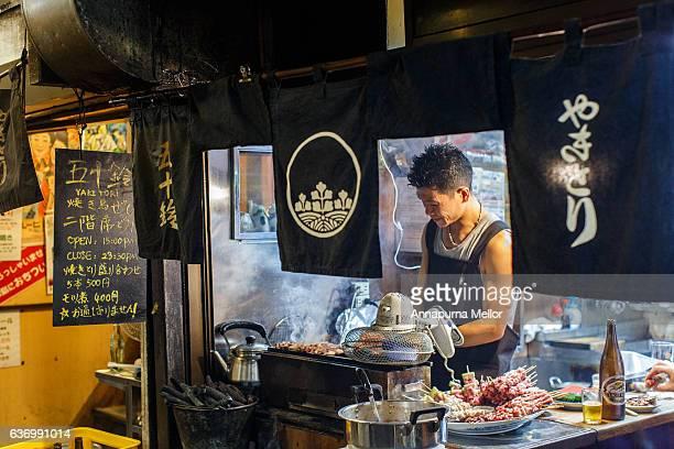 Market stall in Yakitori Alley/Memory Lane in Shinjuku, Tokyo, Japan