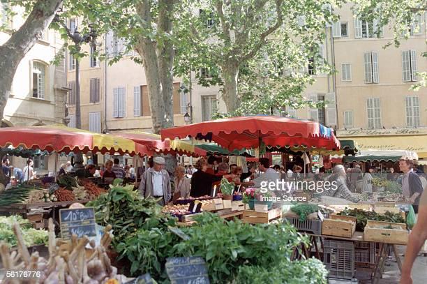 """""""market stall, place richelme, aix-en-provence"""" - provence alpes cote d'azur stock photos and pictures"""