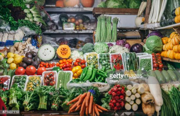 Market stall with fresh vegetables