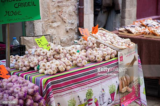Market stall with garlic varieties in France