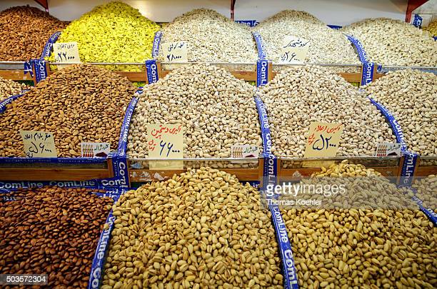 Market stall with nuts and kernels near the central market on October 18 2015 in Tehran Iran