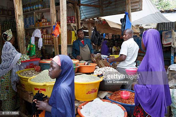 Market stall with spices on the market in Niamey on August 10, 2016 in Niamey, Niger.