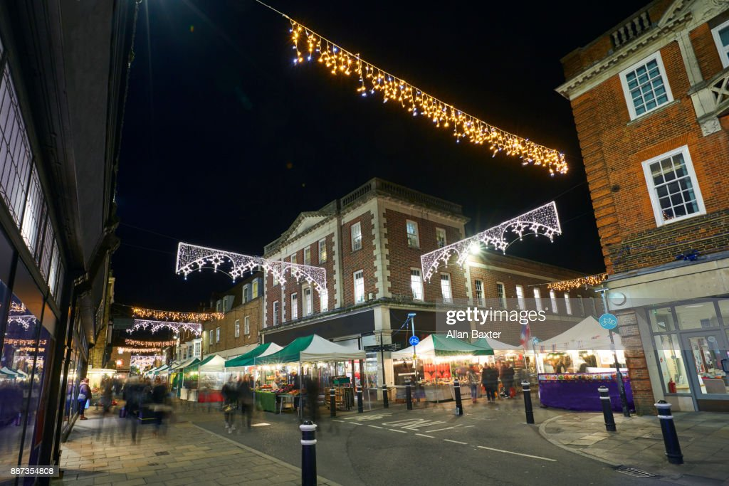 Market stalls in the High Street of Winchester : Foto de stock