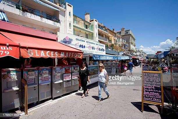 Market stalls on the beach promenade in Bandol on June 22 2013 in Bandol Cote d'Azur France