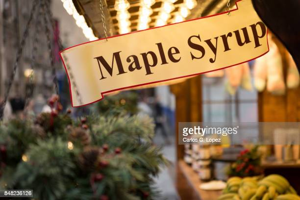 Market stand with Maple Syrup sign - Christmas Shopping