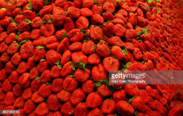 market strawberries piled high - gary colet stock pictures, royalty-free photos & images